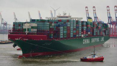 Photo of 19.100 TEU – kontejnerový obr CSCL GLOBE na své panenské plavbě v Hamburku